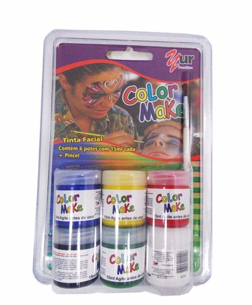 Cartela de Tinta Facial Líquida 6 cores básicas (Colormake)