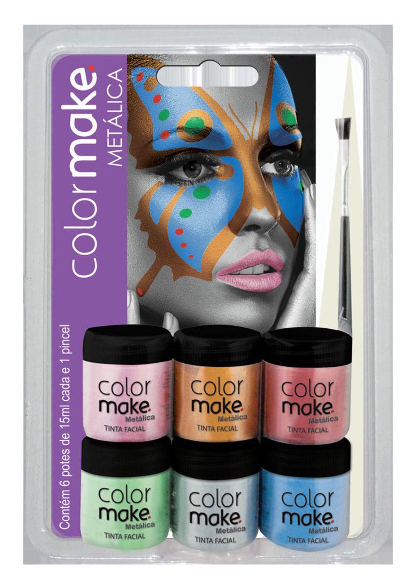 Kit Tinta Facial Líquida 6 cores metálicas