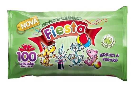 Lenço / Toalha Umedecida Fiesta C/100 Unidades 20cm X 13cm