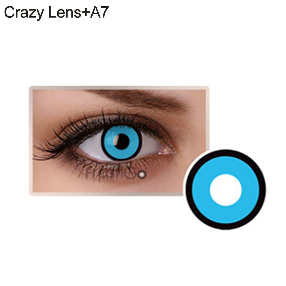 Lente de contato azul com contorno preto (A7)