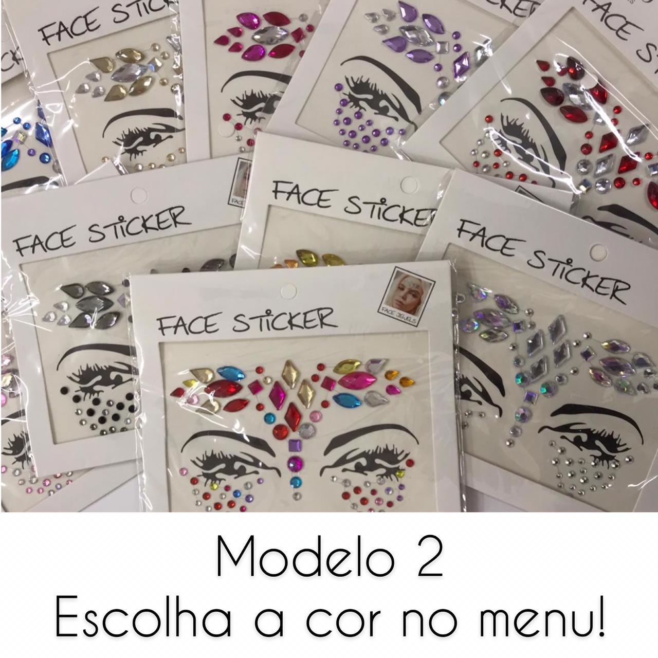 Pedrinhas Face Sticker Carnaval Modelo 2