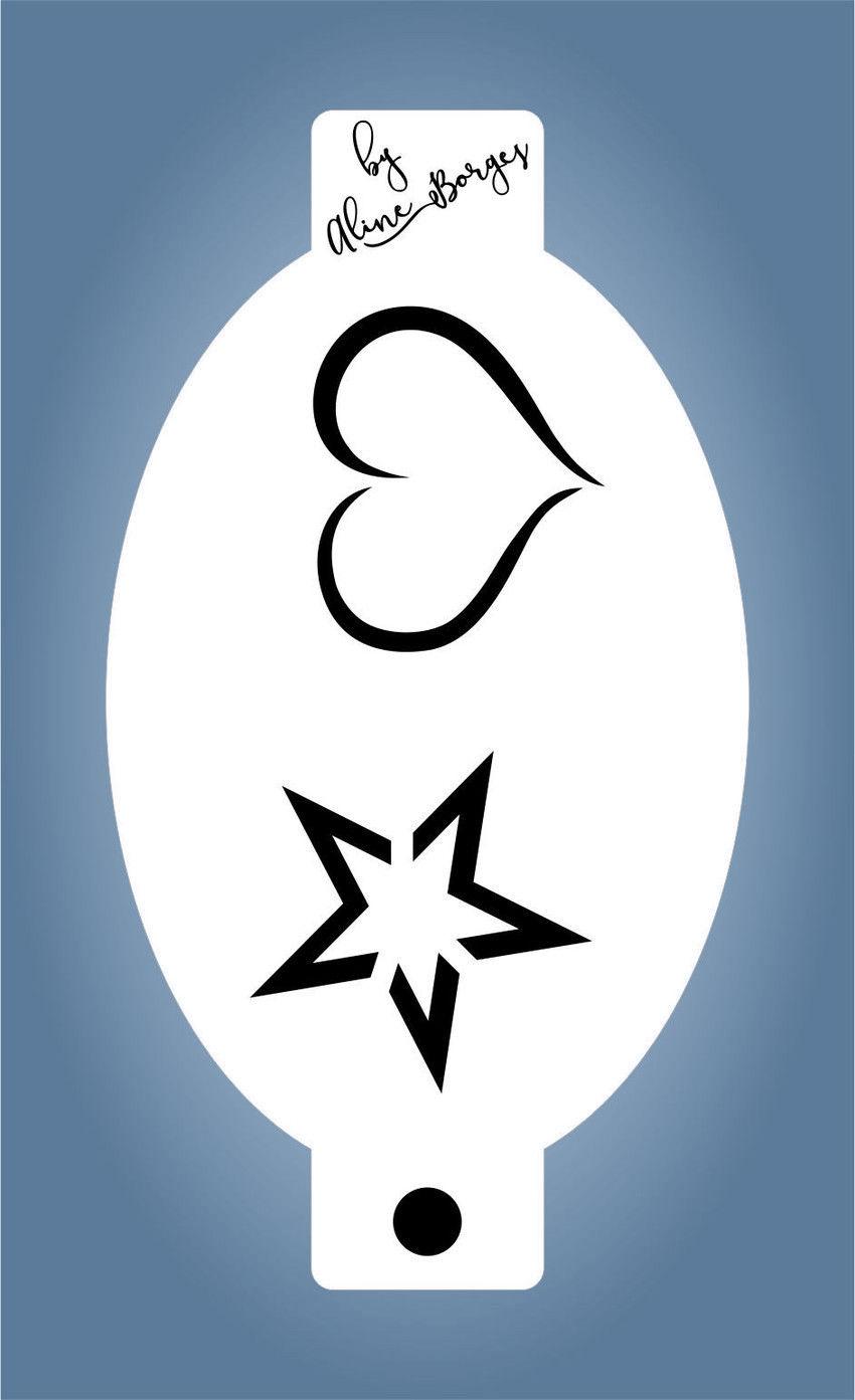 Stencil Coração Estrela Contorno