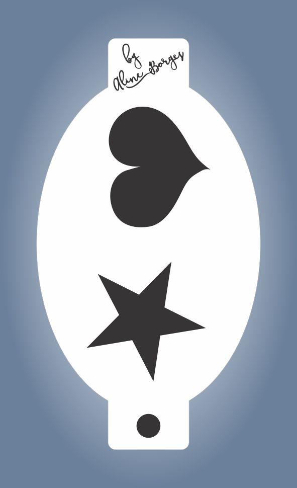 Stencil Coração Estrela vazado