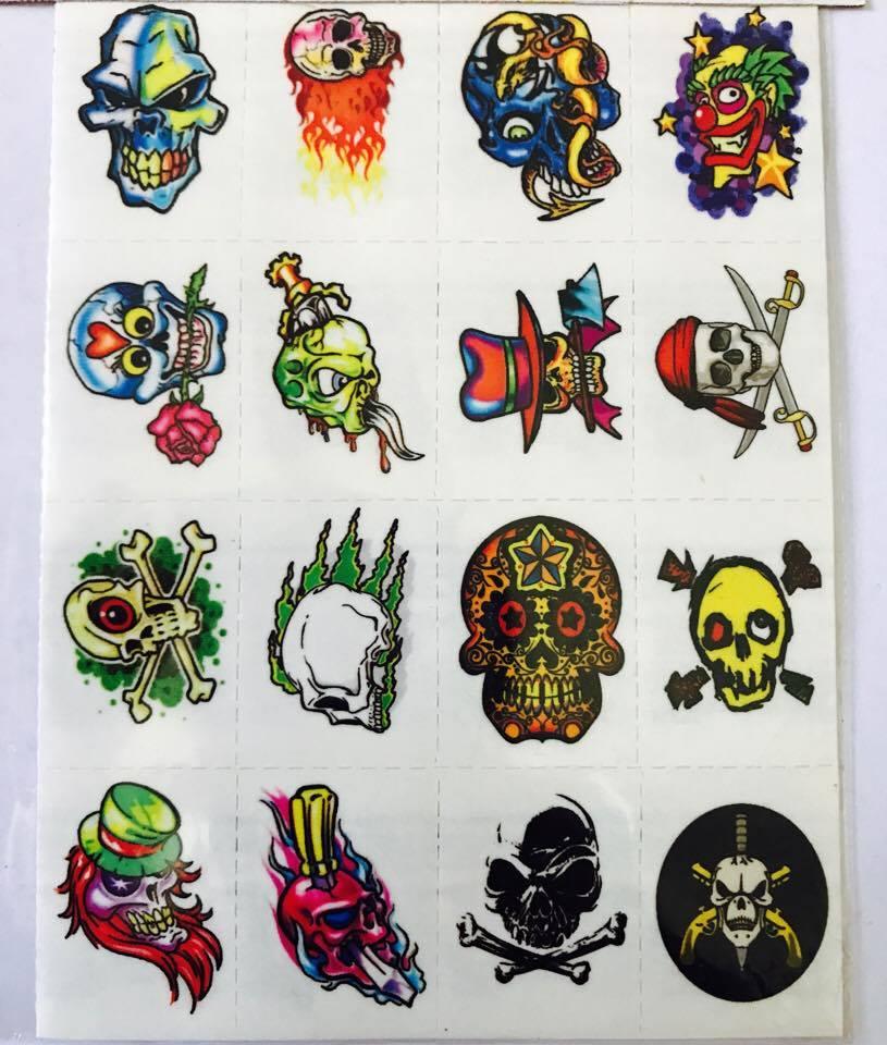 Tatuagens Temporárias 32 pçs - Caveiras Coloridas