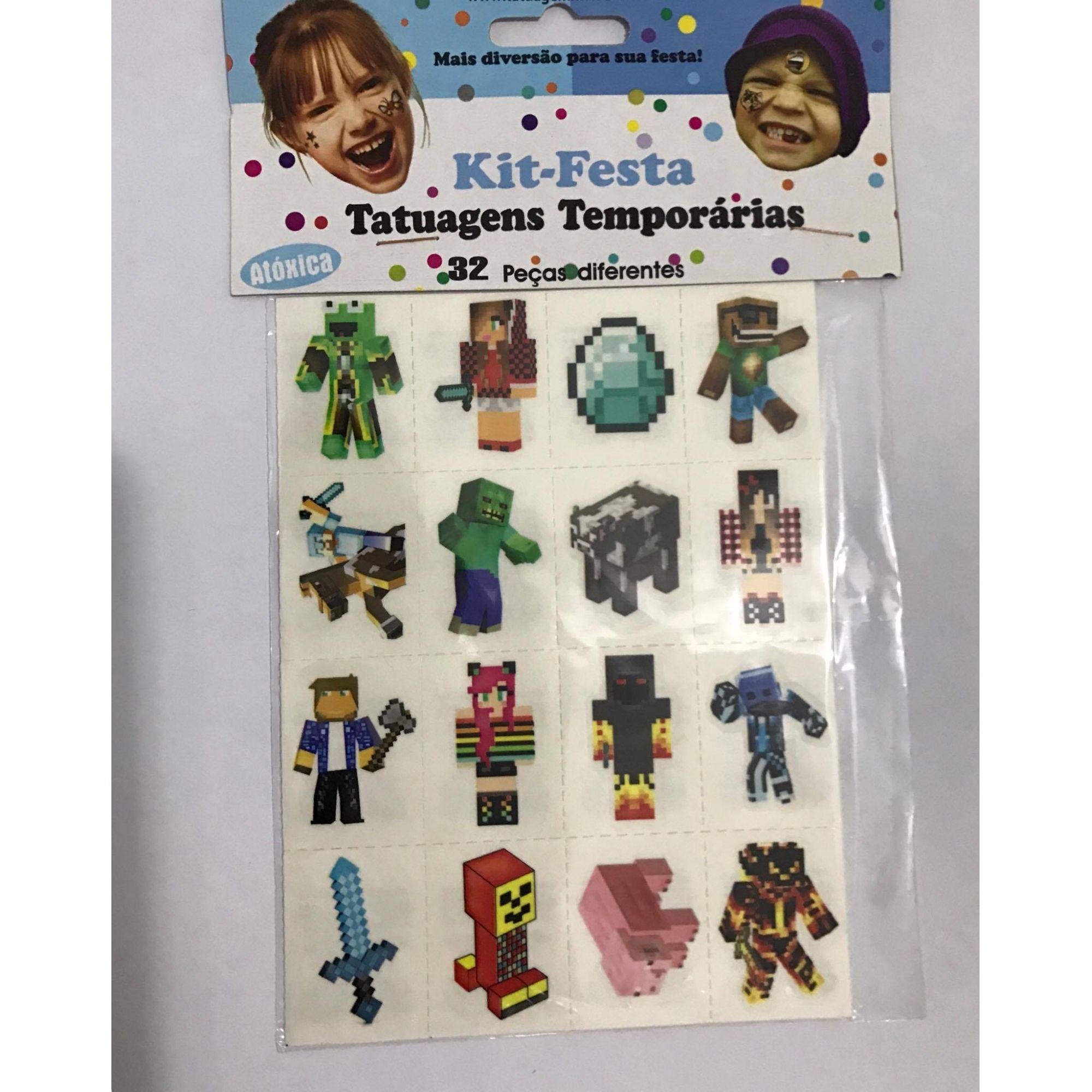 Tatuagens Temporárias 32 pçs Mine Craft