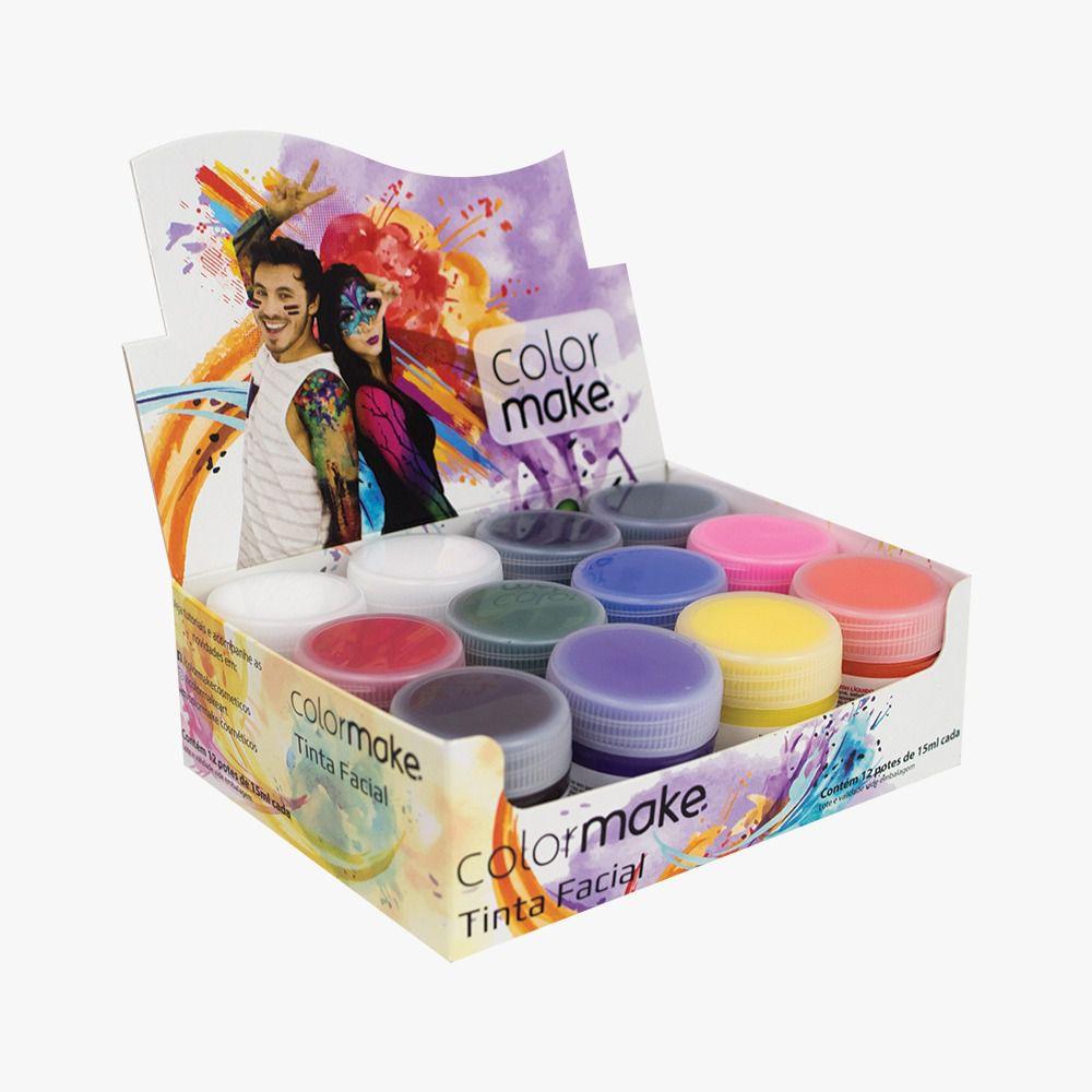 Tinta Líquida Facial 15 ml  Caixa Sortida Com 12 Und. Colormake