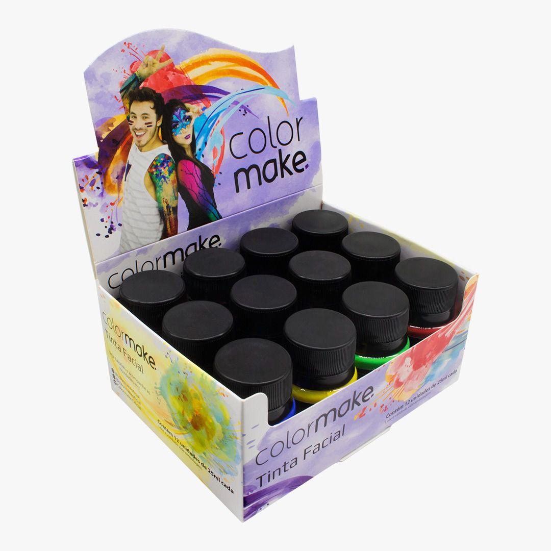 Tinta Líquida Facial 25 ml  Caixa Sortida Com 12 Und. Colormake