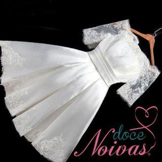 Vestido Curto Civil Manguinha Ombro Off White