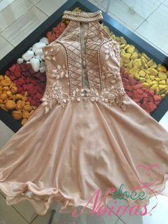Vestido Curto Nude Dourado