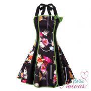 Vestido Curto Vintage Flores