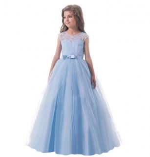 Vestido Daminha Longo Tule Azul Celeste