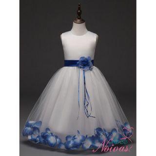 Vestido de Daminha Aia Florista Branco Com Azul Pétalas