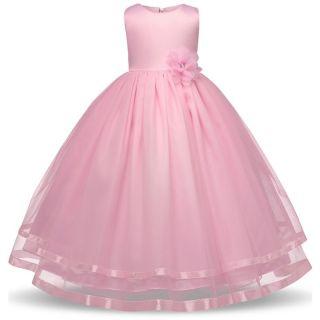 Vestido de daminha florista rosa