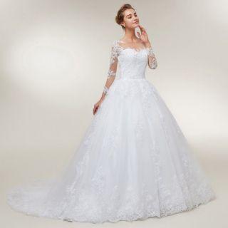 Vestido de Noiva Ana Manga Longa Detalhe Costas