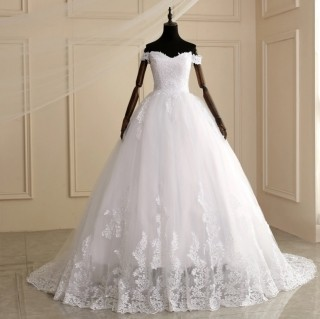 Vestido de Noiva Ariana Alça Ombro e Cauda