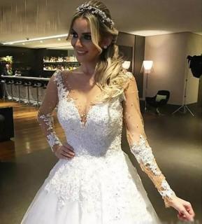Vestido de Noiva Fernanda Manga Longa