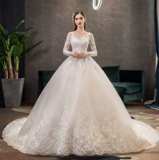 Vestido de Noiva Laura Longa Cauda Off White