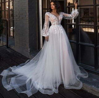 Vestido de Noiva Manga Bufante Eloá Branco