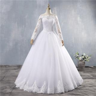 Vestido de Noiva Ombro a Ombro Manga Longa