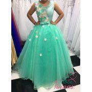 Vestido Debutante Alça Verde Agua