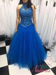 Vestido Debutante Azul Bic Gola