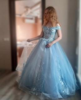 Vestido Debutante  Azul Claro Alça Ombro