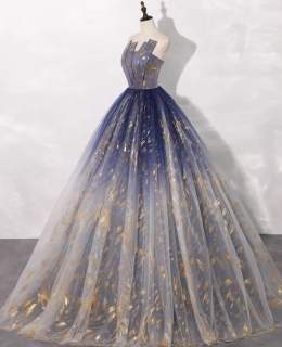 Vestido Debutante  Azul Com Dourado