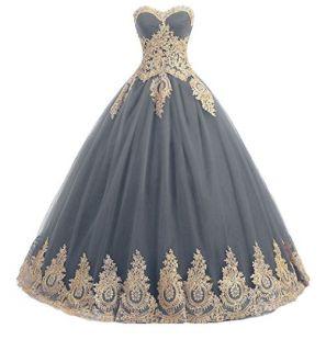 Vestido Debutante Cinza Escuro com Dourado