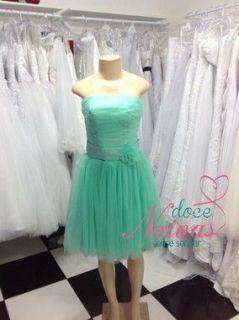 Vestido Debutante Curto Verde Menta