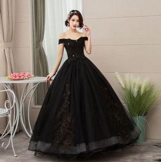 Vestido Debutante Ombro a Ombro Preto