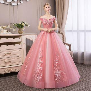 Vestido Debutante Ombro a Ombro Rosa Velho