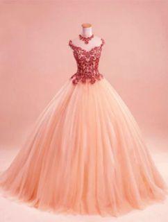 Vestido Debutante Princesa Terracota/Salmão