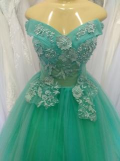 Vestido Debutante Verde Tiffany Alça Ombro