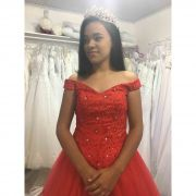 Vestido Debutante Vermelho Alça Ombro