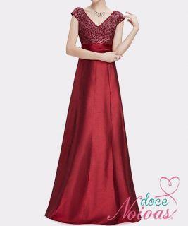 Vestido Longo Alça Vermelho Brilho