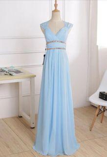 Vestido Longo Azul Celeste e Azul Bic