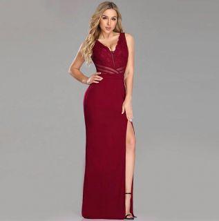 Vestido Longo com Fenda Vermelho Marsala