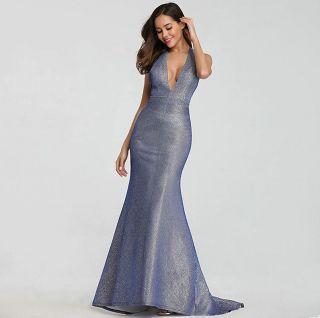 Vestido Longo Decote Costas Azul com Prata