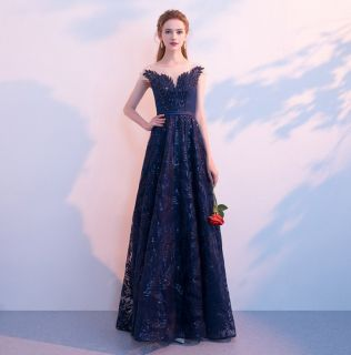 Vestido Longo Ramos Azul Escuro