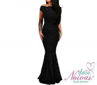 Vestido Longo Rendado Preto (sereia)