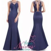 Vestido Longo sereia Azul Marinho