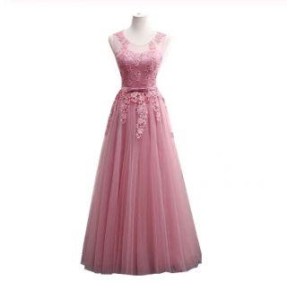 Vestido Longo Tule Bordado Rosa Velho