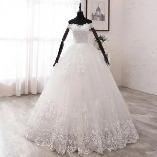 Vestido de Noiva Alessandra Ombro a Ombro Off White