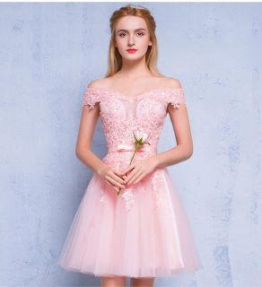 Vestido Rosa Velho Pêssego Ombro
