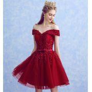Vestido Vermelho Escuro Alças Ombro