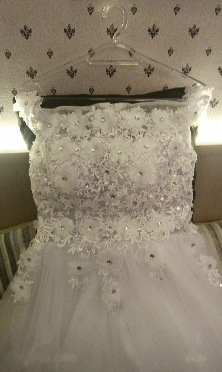 Vestido Alça Ombros Flores 3D