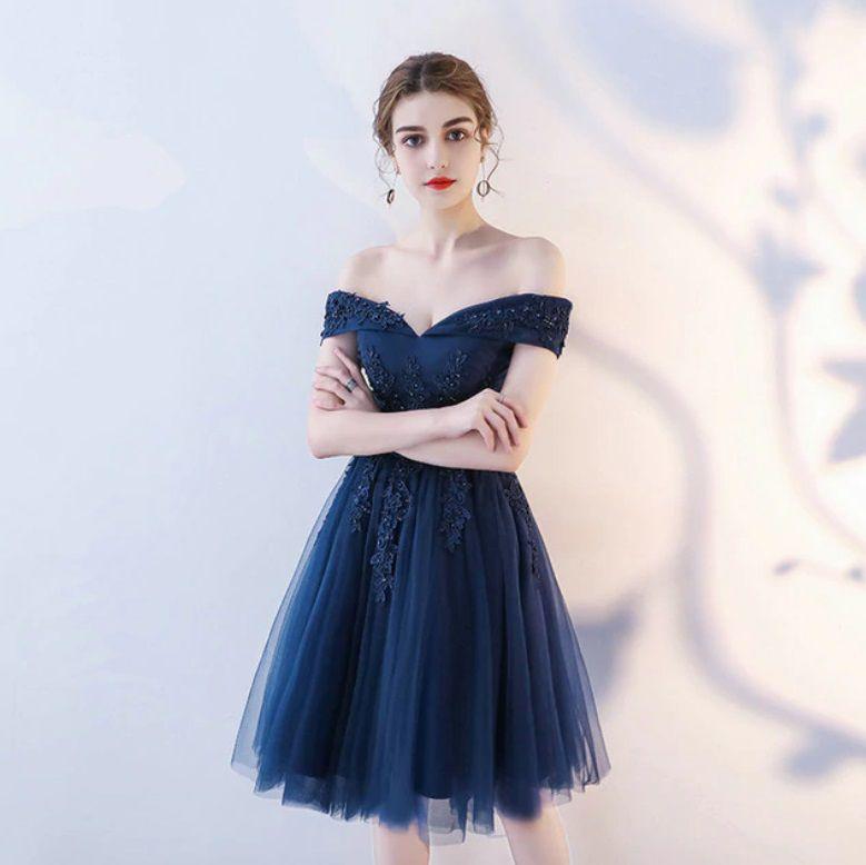 Vestido Azul Marinho Alças Ombro