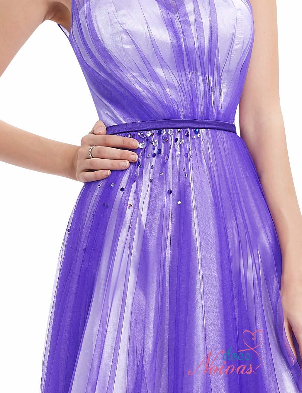 Vestido Azul Violeta com Branco