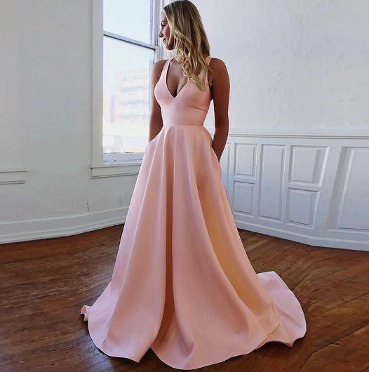 Vestido Cetim Costas Aberta Rosa