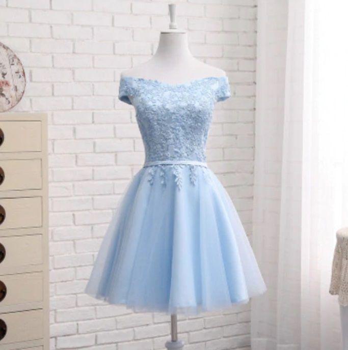 Vestido Curto Alça Ombro Azul Celeste